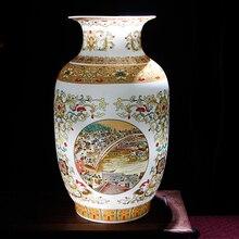 Jingdezhen Vase Antique en céramique doré avec scène de bord de rivière au Festival de Qingming, Vases en porcelaine chinoise