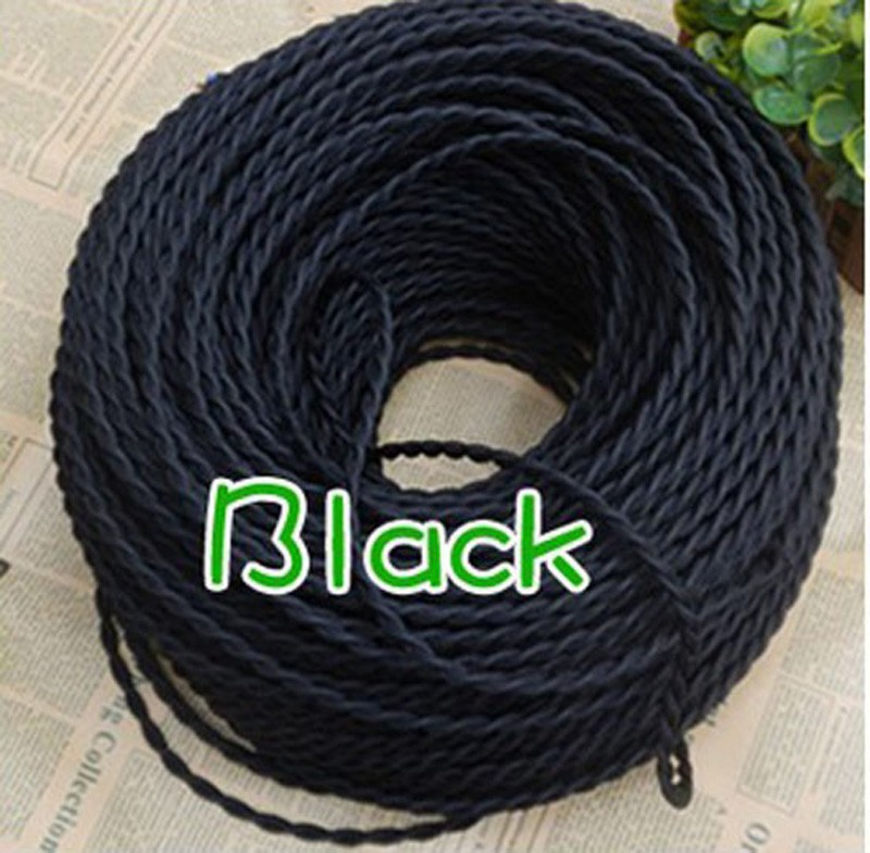 Black <font><b>5</b></font>/10/20 Meters 2 <font><b>Core</b></font> Electrical Rope <font><b>Wire</b></font> Vintage Antique Braided Twisted Fabric Lighting Cable Woven Silk Flexible Cord image