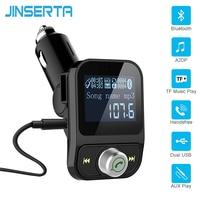 Jinserta черный fm-передатчик Беспроводной Bluetooth fm-модулятор громкой связи car kit ЖК-дисплей Радио аудио Автомобильный MP3-плеер 3.5 мм Aux Adatper