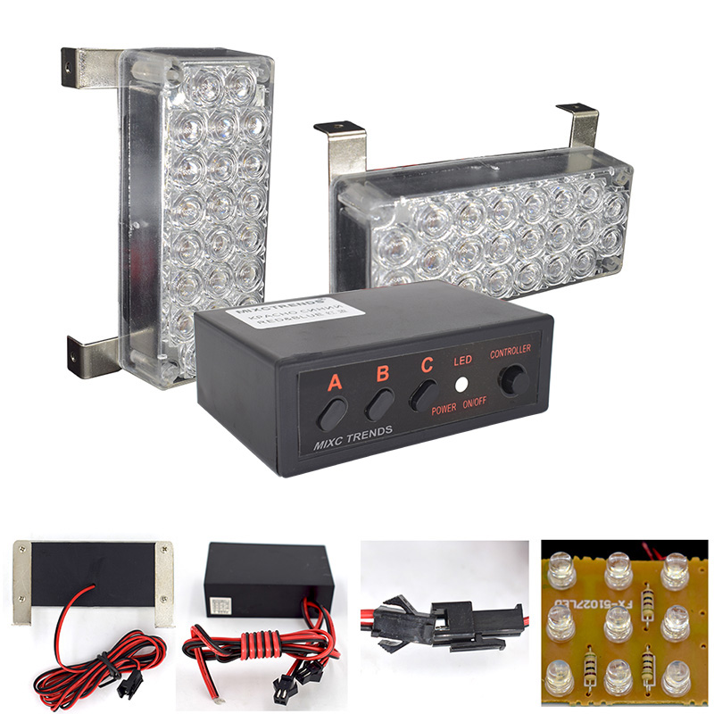 MIXC TRENDS 2X22 Flash LED Light Red Blue Police Beacon Light Emergency Warning Strobe Light for Car