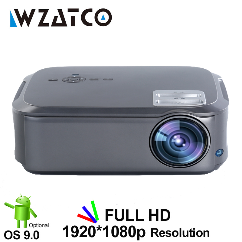 WZATCO Newest T58 Android OS 9.0 Wifi Smart Full HD 1080P Video LED Projector Proyector For Home Theater Support 4K Online Video
