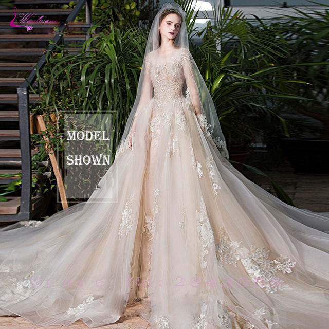 Waulizane Chic Organza Bridal Gowns Exquisite Embroidery Appliques O-Neck 2 In 1 Detachable Train Wedding Dress Customize Made 4