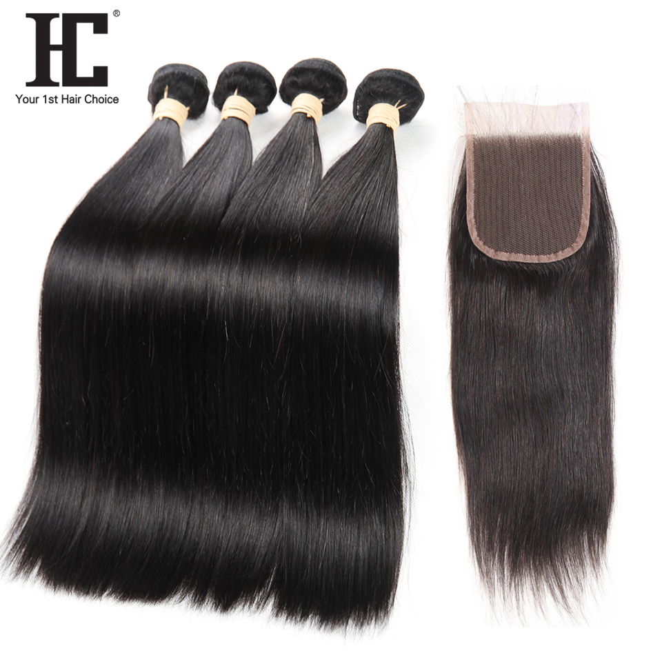 HC Hair Brazilian Straight Human Hair 4 Bundle Deals With Lace Closure Non Remy Natural Color