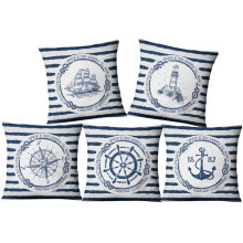 American sea style linen pillow set Mediterranean home fabric Sofa cushion cover  anchor nautical home cushion home office leisure outdoor rattan daybed with white cushion to sea port by sea