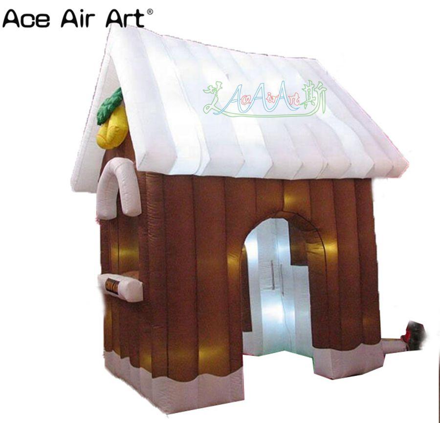 Décoration de noël d'éclairage élevé de 3 m, maison gonflable de père noël de noël, auvent de grotte de santa