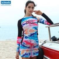 Long sleeve Rash Guard Shirt Women Surf Swimsuit Wetsuit Swimwear Yacht Drifting Diving Quick drying Anti UV Beach Clothing