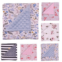 Ultrasoft Minky Bubble Dot Blanket Pure Cotton Floral Stripe Receiving Blanket Mink Newborn Bedding Blanket Baby