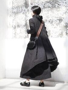 Image 4 - [EAM] 2020 New Spring  Winter Ruffled Collar Long Sleeve Black Irregular Big Hem Fold Loose Long Dress Women Fashion Tide JI098