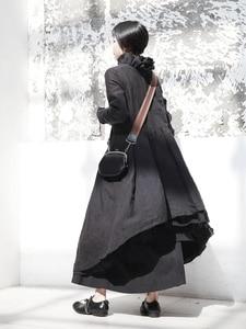 Image 4 - [EAM] 2020 nouveau printemps hiver col à volants à manches longues noir irrégulière grand ourlet pli ample longue robe femmes mode marée JI098