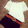Summer Fashion Women Casual Lace Crochet Off Shoulder Chiffon Shirt Tops Blouse