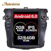 Android 7,1 Tesla стиль ips автомобиль без DVD плеер gps навигация для Toyota Corolla 2013 2007 стерео радио магнитофон мультимедиа