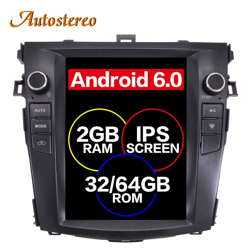 Android 7.1 Tesla style IPS Voiture Sans Lecteur DVD GPS Navigation Pour Toyota Corolla 2007-2013 stéréo radio bande enregistreur multimédia