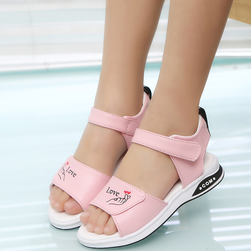 CN 27-37 Black Pink White 2019 Fashion Brand Designer Summer New Korean Letter N Girls Sandals Baby Kids Princess Shoes
