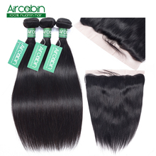 Straight Human Hair 3 Bundles With Frontal Closure Malaysian Non Remy Hair Pre Plucked Lace Frontal Closure With Bundles