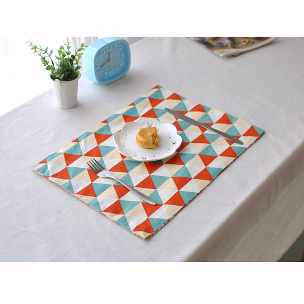 Nordic Western Style Cotton Linen Table Mat Heat Insulation Plate Mat Cover Kitchen Dining F902