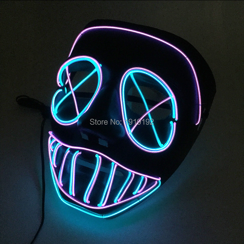 2018 LED Mask Energy saving 10 Color Select el wire mask by 3V Steady on For Halloween holiday Party Mask Decoration