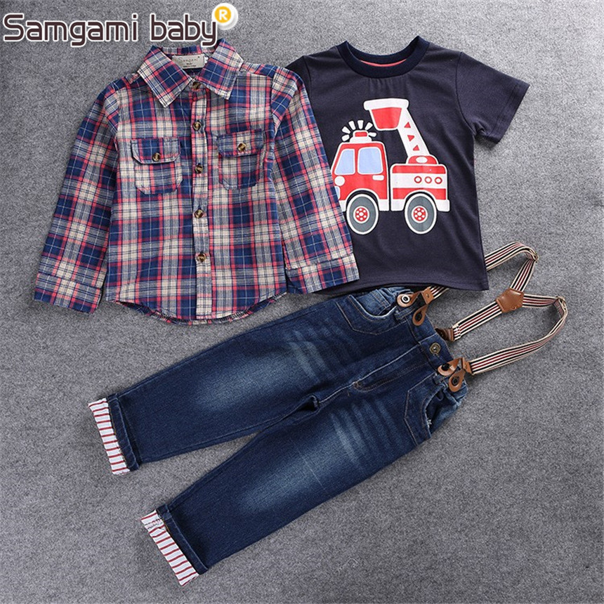 SAMGAMI BABY 2017 Boys Clothing Sets For Spring Baby Boy Suit Long Sleeve Plaid Shirts+Car Printing T-shirt+Jeans 3pcs Suit Set недорго, оригинальная цена
