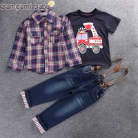 2017 Children S Clothing Sets For Spring Baby Boy Suit Long Sleeve Plaid Shirts Car Printing