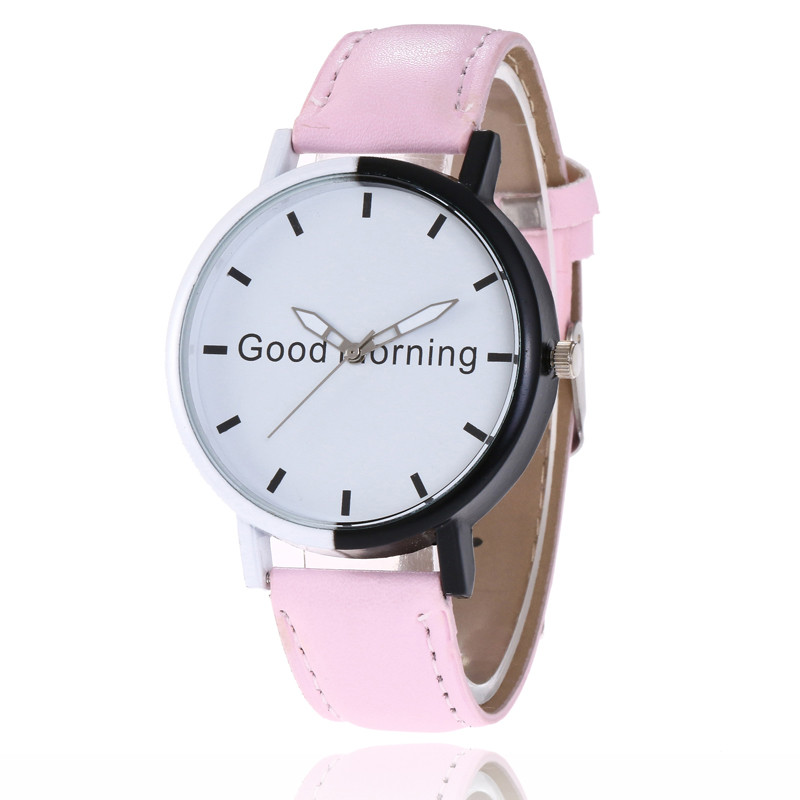 MJARTORIA 2018 Fashion Moment Clock Quartz Watch For Women Men PU Leather Wrist Watch Letter Good Morning White Dial Girls Watch