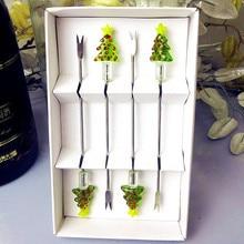 4pcs Custom handmade murano glass christmas tree fruit fork sets Creative tableware stainless steel Cocktail Cake dessert sticks