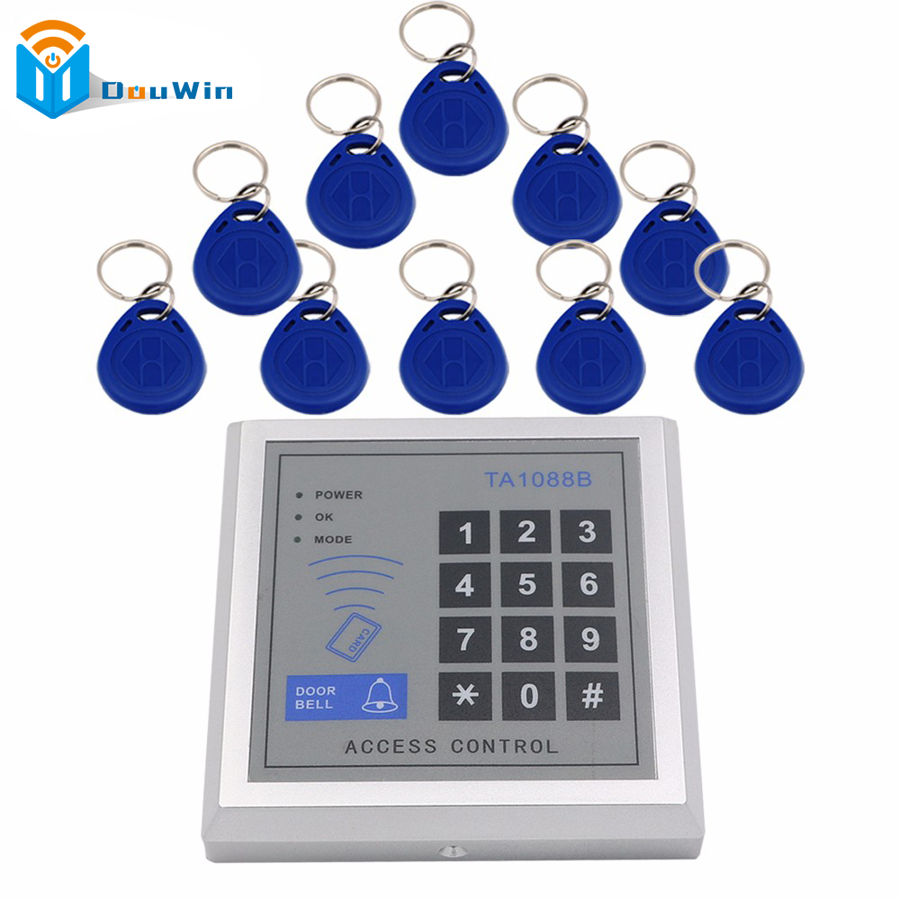 Access Control System 10Pcs RFID FOB Keys+1 pcs Card Reader Access key pad RFID Proximity Entry Door Lock Access Control Winte diysecur 50pcs lot 125khz rfid card key fobs door key for access control system rfid reader use red