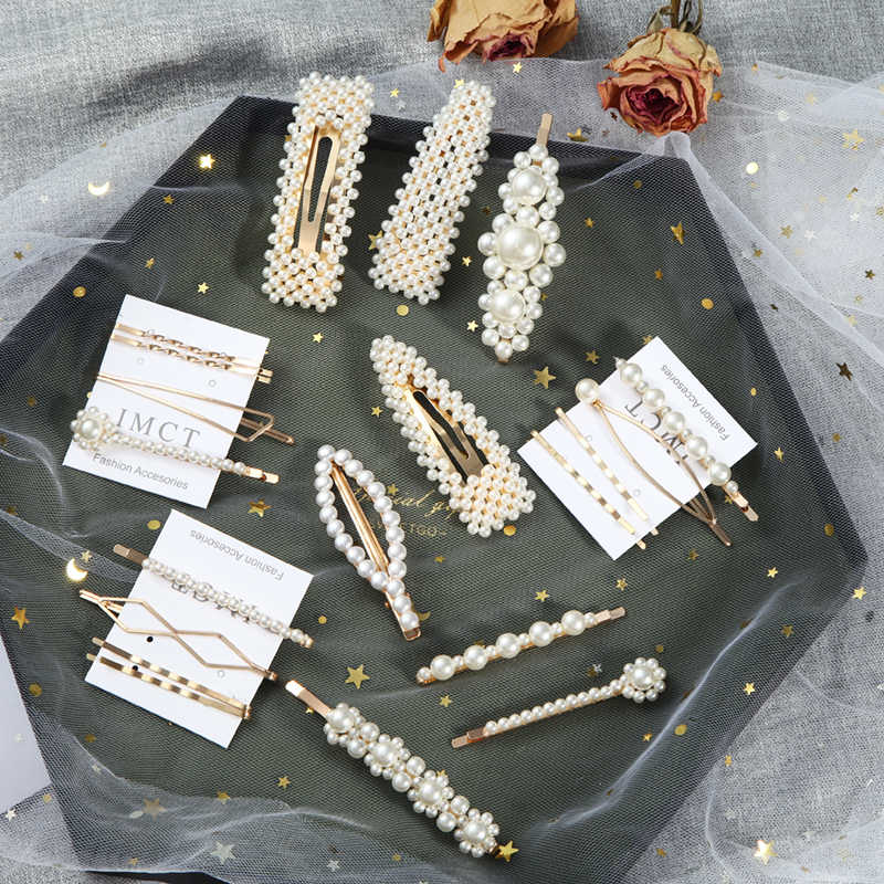 2019 Newest Women Pearl Hair Clip Snap Barrette Elegant Korean Design  Metal Hairpin Hair Styling Accessories Handmade For Girls