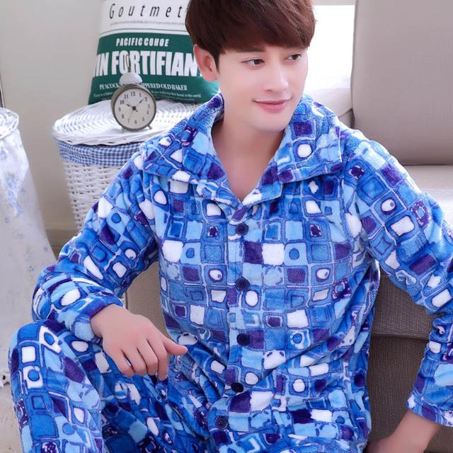 Conjunto Masculino Sleepwear Plus Size Espessamento Outono e Inverno Flanela Salão Masculino Outono-Manga Longa Coral Fleece