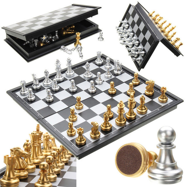 Offre spéciale jeu d'échecs argent or pièces pliant magnétique pliable conseil contemporain ensemble Fun famille jeux de société cadeaux de noël 3