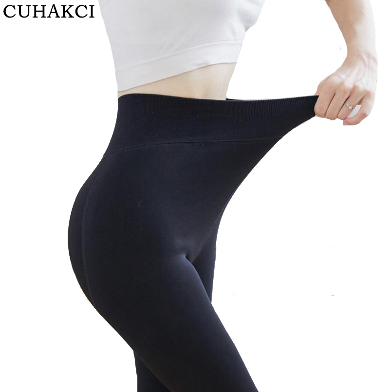 CUHAKCI Brand New Women's Autumn Winter   Legging   Thermal Trousers Step Pant Elastic With High Waist Plus Velvet Warm Thickening