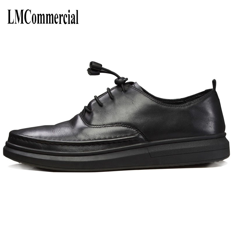 Europe low shoe male casual shoes retro British style all-match leather cowhide shoes and flat business men breathable sneaker pathfinder men s vulcanize shoes men leather high style casual retro comfortable flat shoes breathable male calzado hombre