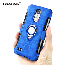 FULAIKATE Ice Cubes Case for LG K10 2017 Eu Version Anti-knock Ring Stand Back Cover Soft Phone Protective Cases