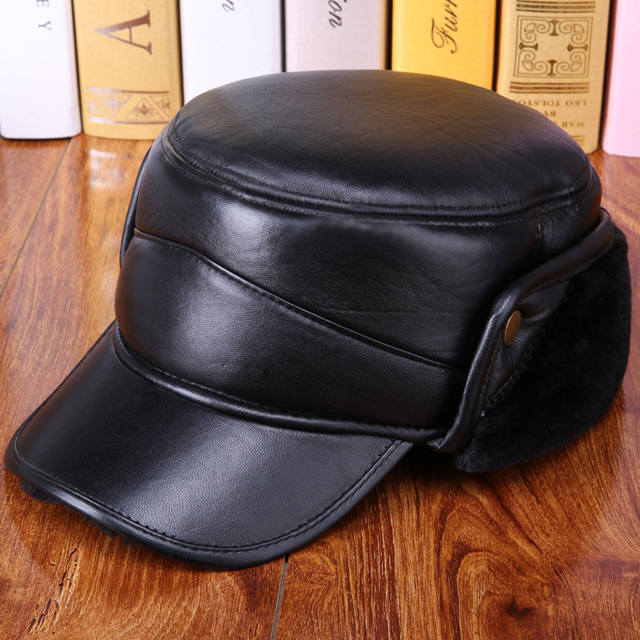 Men's winter 100% sheepskin hat elderly Flat ear caps sheep skin leather hat bomber hat Plus thick velvet warm baseball cap