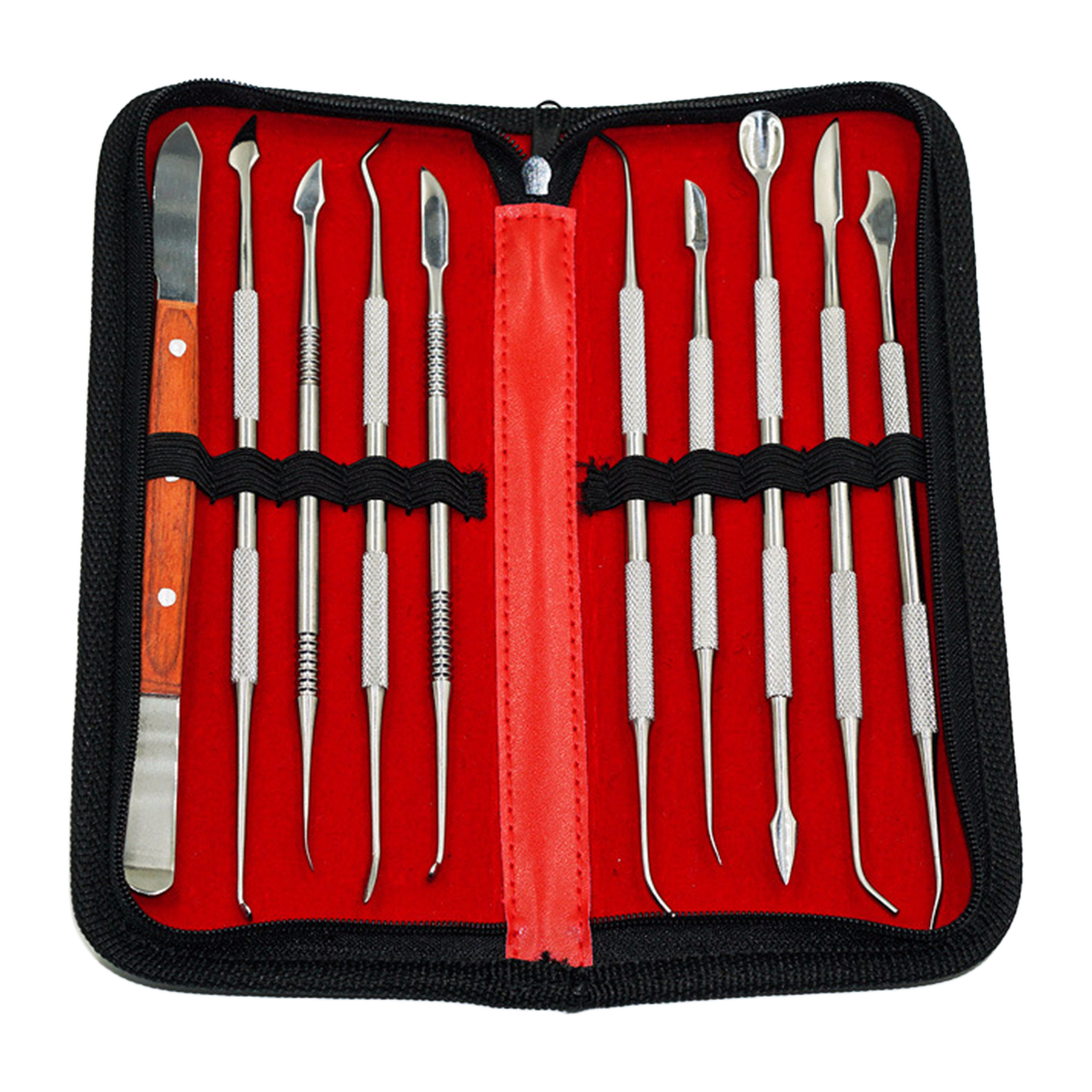 10Pcs Practical Stainless Steel Versatile Teeth Wax Carving Tool Set Dental Instrument Kit Dental Tool With PU Holder