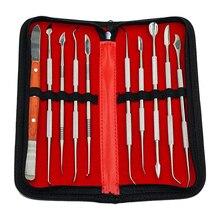 10Pcs Praktische Rvs Veelzijdig Tanden Wax Carving Tool Set Tandheelkundige Instrument Kit Dental Tool Met Pu Houder