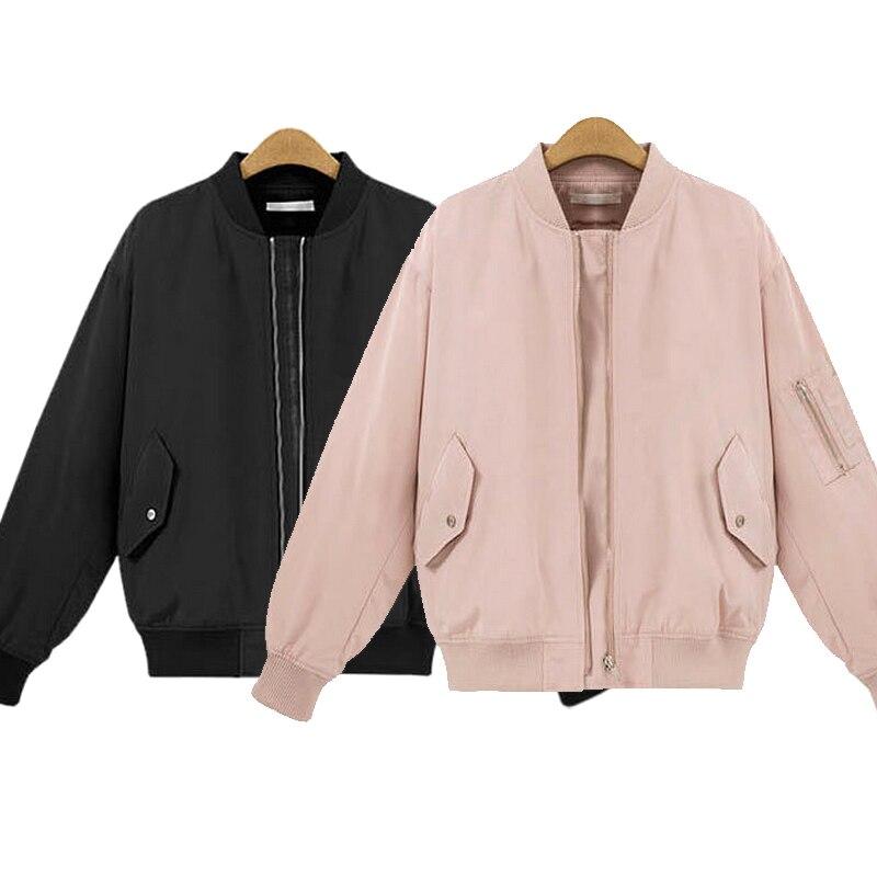2017 Fashion Women Bomber Jacket Baseball Coat Spring Stand Collar Long Sleeve Pilot Outerwear Female Jacket Chaquetas Mujer