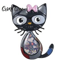 Cring Coco 2019 Cute Cat Brooch Creative Design Jewelry Accessories Fashion Gray Enamel Alloy Metal Brooches Pins for Kids Boys
