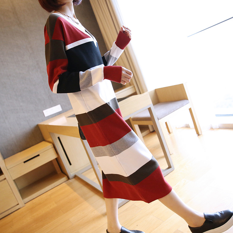 Women Autumn Pullover Winter Sweater Knitted Dresses Long Sleeve Casual Bodycon Robe Female Striped Dresses Straight Vestidos in Dresses from Women 39 s Clothing