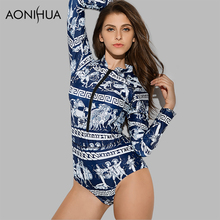 AONIHUA 2018 Retro Ancient mural printing Swimsuit for Women Vintage One Piece Swimwear Long sleeve zipper swimming Suit 9021