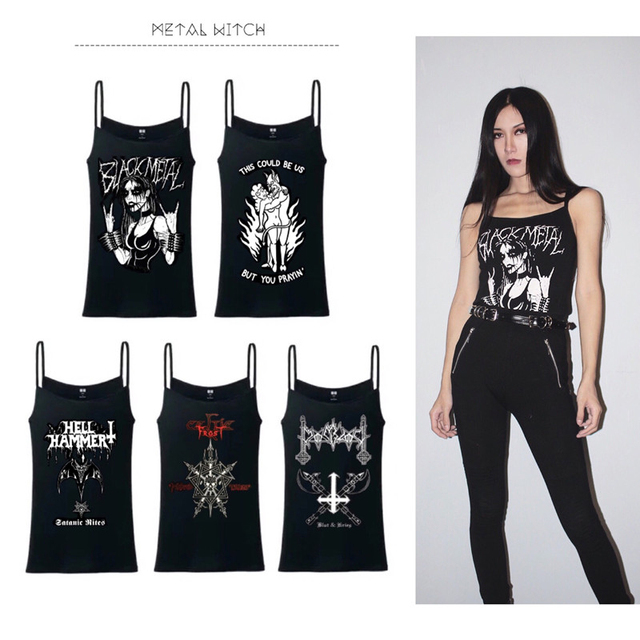 2017 Banda de Rock Metal Metal Moda Punk Estilo Mulheres Tops Cinta Cinta Fina Escuro Magro Impresso Vest Tops