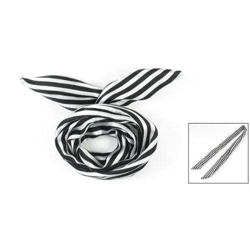 ᐃWhite/Black Women Striped Print Fabric Coated Wire Hair Wrap Scarf ...