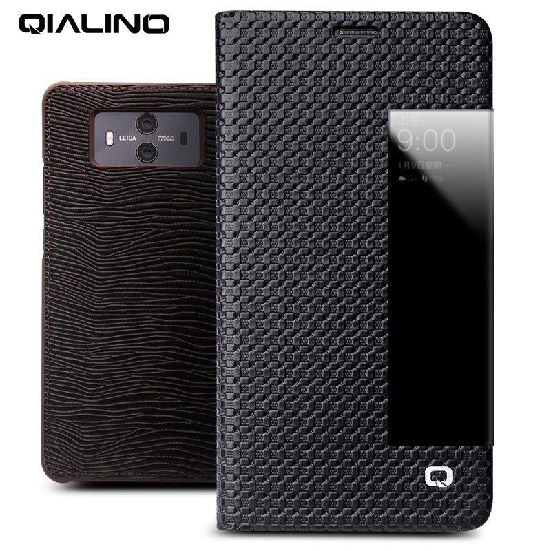 QIALINO Luxury Business Style Genuine Leather Phone Case for Huawei Mate 10 Sleep Wake Smart Bag Flip Cover for Mate10 pro