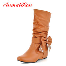 ANMAIRON New Women Spring and Autumn Bowtie Charms Flats Boots Shoes Woman Mid-calf 4 Colors White Shoes Boots Large Size 34-47