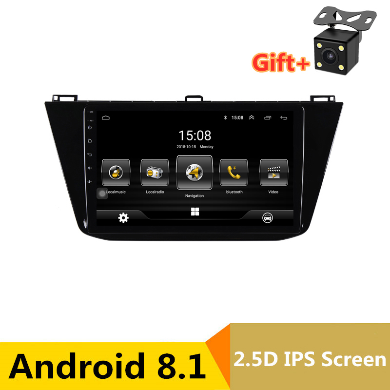 9 2.5D IPS Android 8.1 Car DVD Multimedia Player GPS For Volkswagen VW Tiguan 2017 2018 audio radio stereo navigation image
