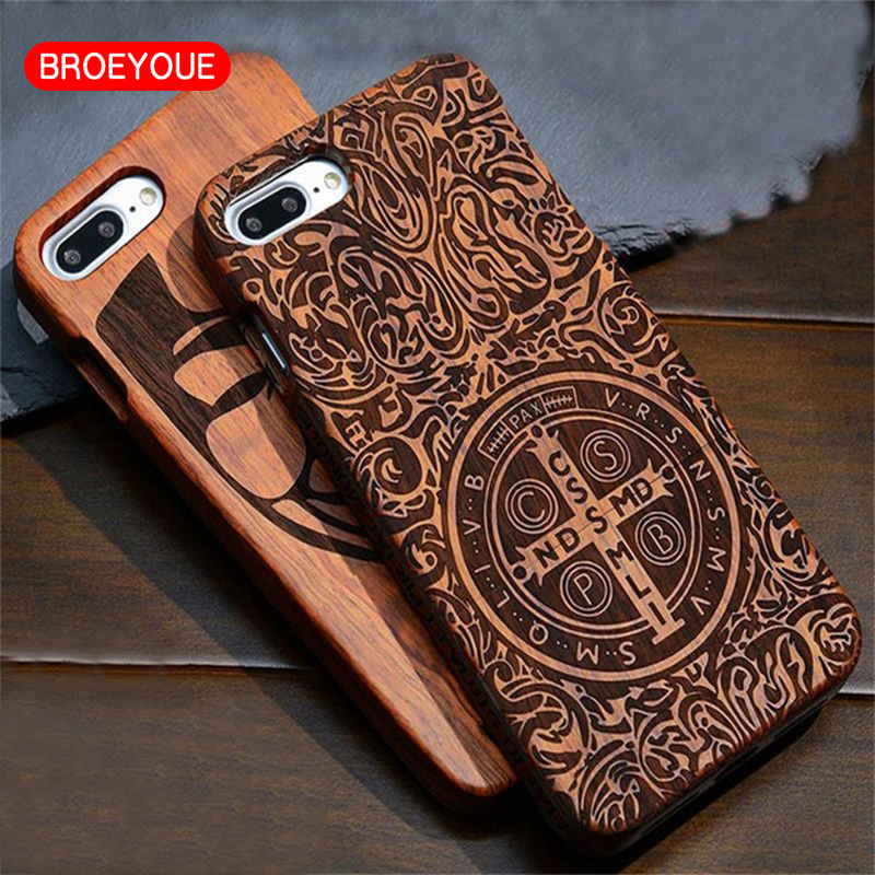 BROEYOUE Wooden Phone Case For Apple <font><b>iPhone</b></font> 7 6 6s 5 5s se Plus 100% Natural Bamboo Carving Design Wood Luxury Phone Coque Cases