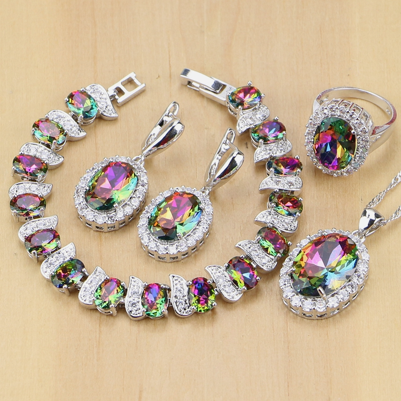 Regenbogen Mystic Feuer Zirkonia Schmuck Sets Frauen 925 Sterling Silber Schmuck Ohrringe/Anhänger/Halskette/Ringe/armband