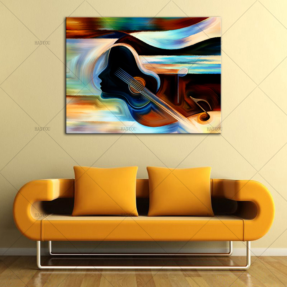 Frameless Abstract Musical Instruments Oil Painting Modern Canvas ...