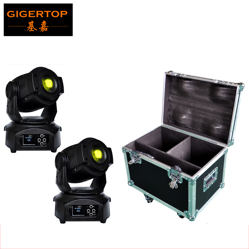 flight case 2in1 packing 2xlot 90w led spot moving head light for stage bar disco party dmx. Black Bedroom Furniture Sets. Home Design Ideas
