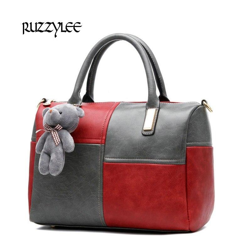 ФОТО RUZZYLEE Brand New Women Handbag Message Bags Shoulder Clutch Patchwork Luxury Handbags Women's Bags Designer Boston Female Bag