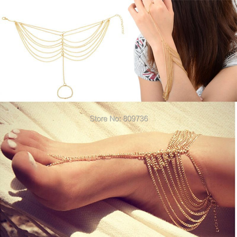 1PC New Hot Celebrity Simple Plated Toe Ankle Bracelet Anklet Chain Link Foot Women Jewelry Drop