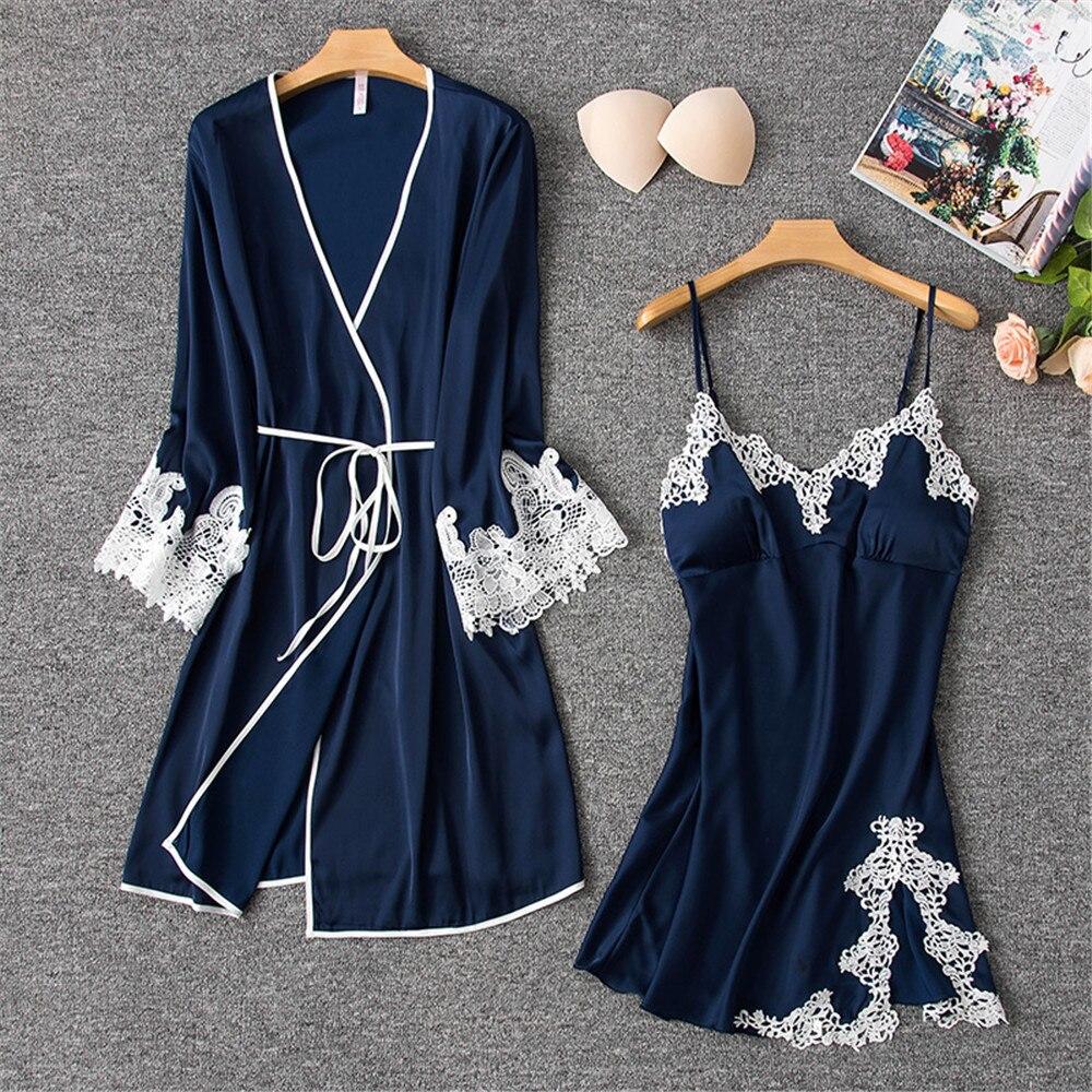 Herislim Satin Robe Und Kleid Set Frauen Sexy Spitze Trim Robe Und Nacht Kleid 2 Pcs Pyjamas Silk Luxus Nachtwäsche Nachthemden Homewear